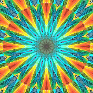 Aqua Gold Joy to the World Abstract Mandala