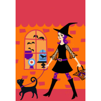 Halloween Diva Witch with Cat