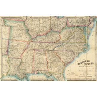 Map of The Southern States of America
