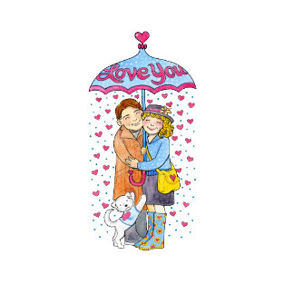 Valentine Love You Umbrella with Raining Hearts