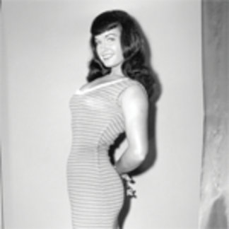 Bettie Page Vintage Pinup in Long Striped Dress