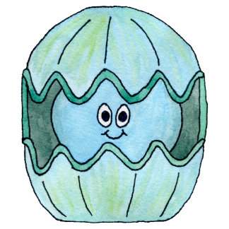 Clam, blue pattern background.