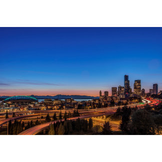 I-5 freeway and downtown Seattle at twilight