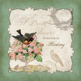 French Rose Love Birds - Apple Green