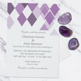 Purple Geometric Wedding Invitations Suite