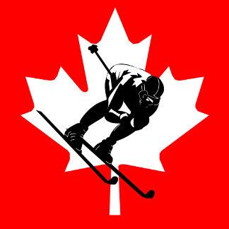 canada flag downhill skier