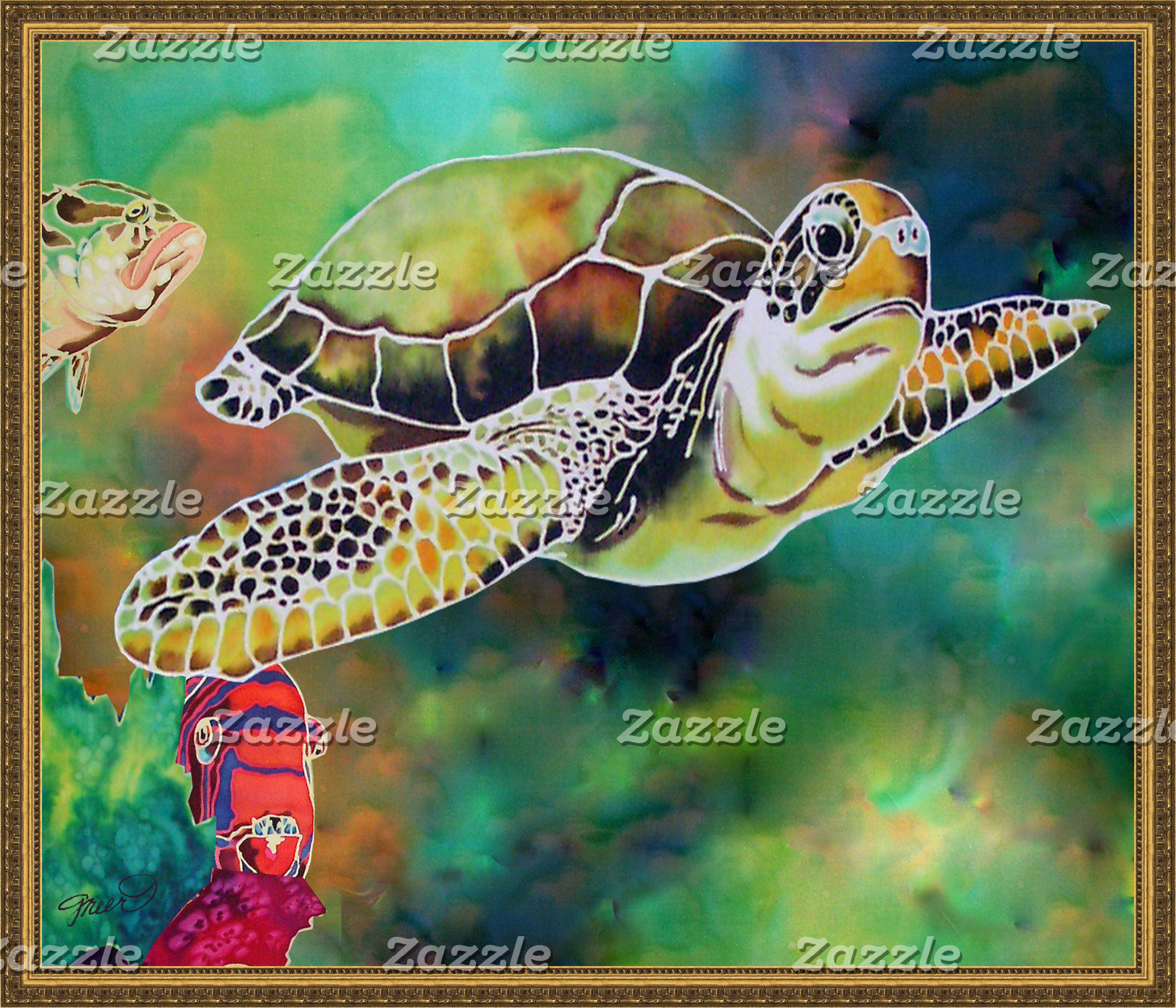GREEN SEA TURTLE SILK PAINTING