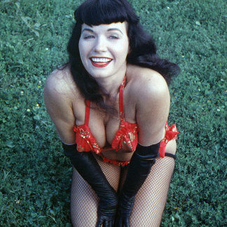 Bettie Page Vintage Pinup Smiling In The Grass