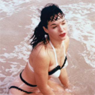 Bettie Page Playing in the Ocean Vintage Pinup