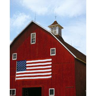 """barn door w/American flag poster print"""