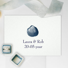 Blue Seashell Beach  Wedding Invitations