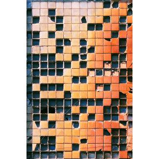 Broken Glass Block Squares Texture black orange