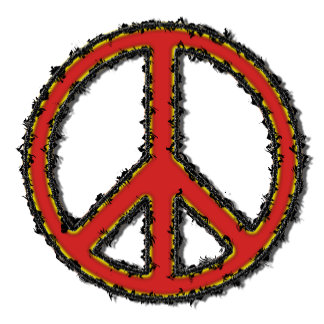 Peace Sign Red Zig Zag -