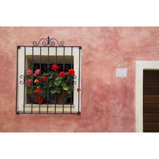 Italy, Asciano, Window Boxes with Fresh Spring
