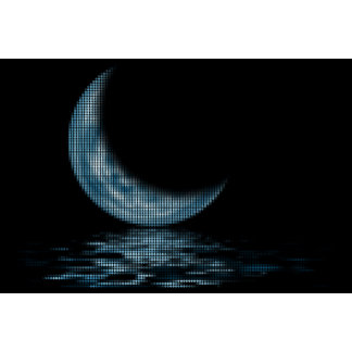 Reflection Crescent Moon On Lake