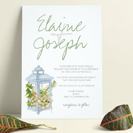 Succulents in Lantern Desert Wedding Invitations
