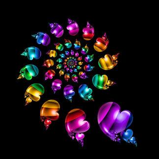 Rainbow Heart Wheel on Black