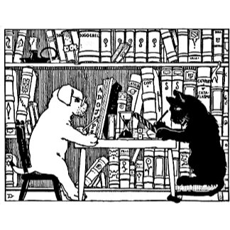 Dog and Cat in Library