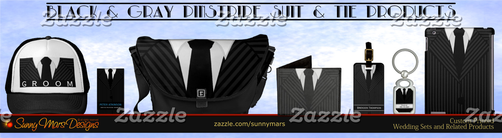 Gray or Grey Pinstripe Suit and Tie Product Set Collection