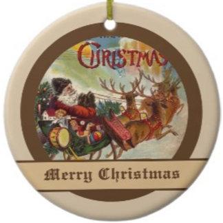 Vintage Santa Claus on his Reindeer Sleigh