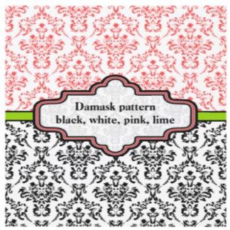 Black, white, pink, lime damask pattern