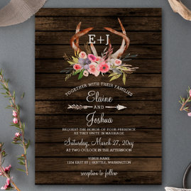 Rustic Blooming Antlers Barn Wood Wedding Invitations