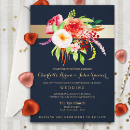 Navy And Gold Floral  Wedding Invitations