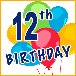 12th Birthday T-shirts, Party Favors and Gifts