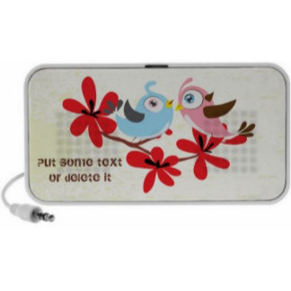 Cute couple of birds red flowers Doodle speaker