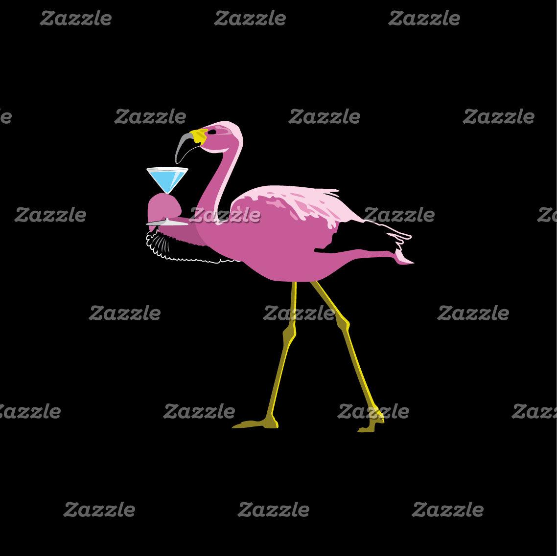 Flamingo Drinking Martini