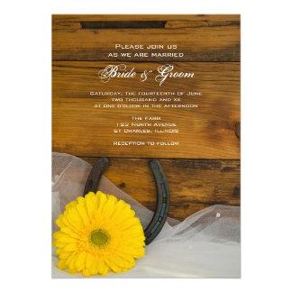 Yellow Daisy and Horseshoe Western Wedding