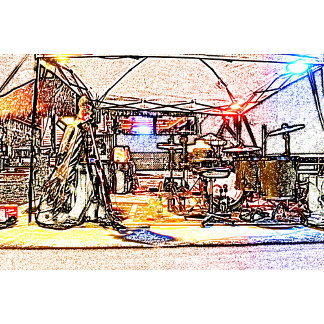 band on stage colored pencil music themed design
