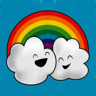 Happy Clouds and Rainbow
