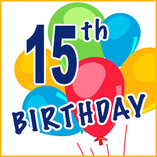 15th Birthday T-shirts, Party Supplies and Gifts