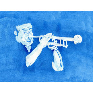 Blue watercolour painting of trumpet player
