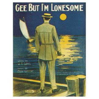 Gee But I'm Lonesome Vintage Song Sheet Music Art