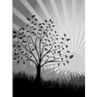 Trees, Leaves, Grass Silhouette & Sunburst B&W