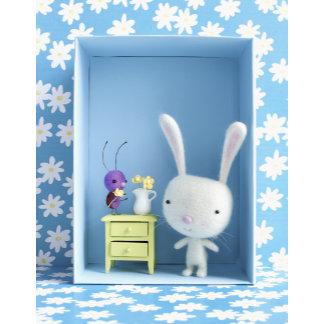 """Felt Bunny and Ladybug Photo Poster Print"""