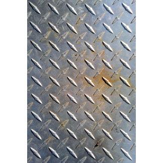 Steel metal diamond pattern grey and rusty
