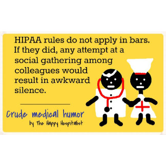 HIPAA rules do not apply in bars.  If they did...
