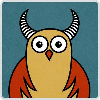 16 - Funny Cartoon Horned Owl