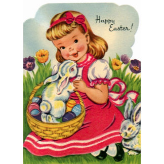 Happy Easter - Little Girl & Bunny - Retro Vintage
