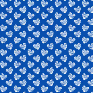 Blue and White Sketchy Hearts