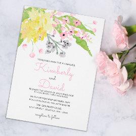 English Floral Garden Wedding invitations Set