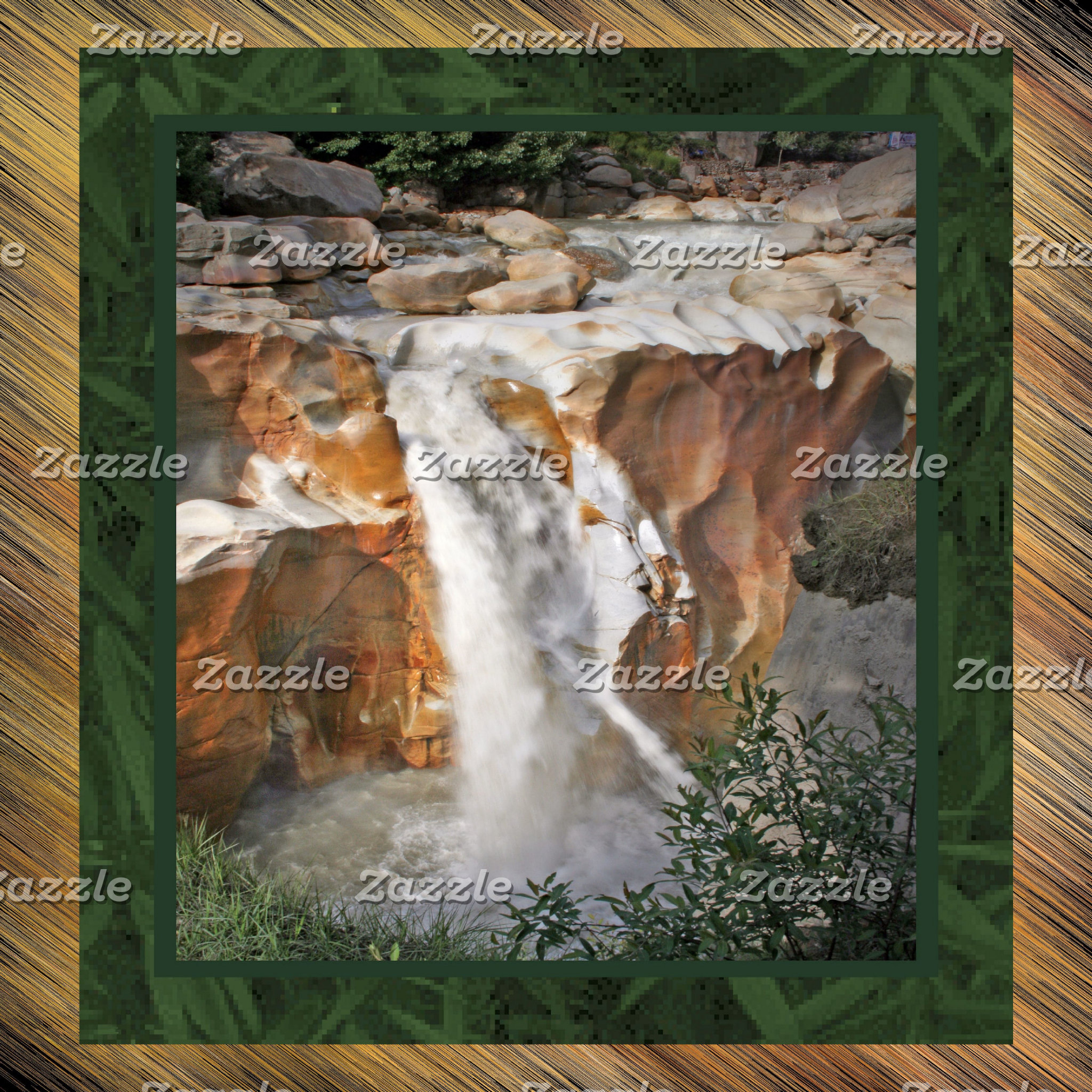 Red Rock Waterfall_border_leaves bkgrnd_color chan