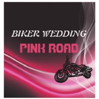 Biker wedding, pink road