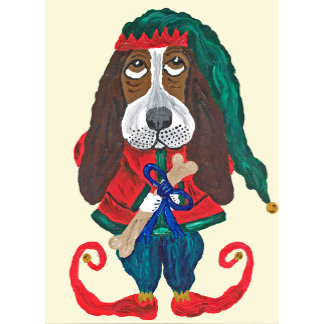Basset Santa's Helper Christmas Elf