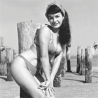 Bettie Page Vintage Bikini Pinup At The Beach