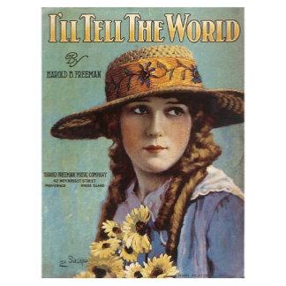 I'll Tell The World - Vintage Song Sheet Music Art