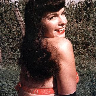 Bettie Page Vintage Pinup Model Shoulder Smiling
